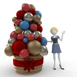 3d girl with arrangement for Christmas. Isolated on white Royalty Free Stock Images