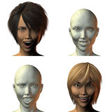 3D girl face with emotion Stock Image
