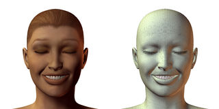 3D girl face with emotion. Isolated on white Stock Photography