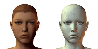 3D girl face with emotion Stock Images
