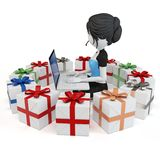 3d girl with gift boxes and laptop Stock Images