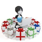 3d girl with gift boxes and laptop Stock Photography