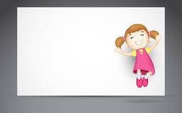 3d Girl Jumping. Illustration of 3d girl jumping against blank board Stock Photos