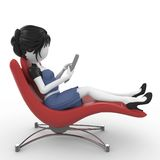 3d girl with laptop sitting on chair Stock Photo