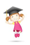 3d Girl with Mortar Board. Illustration of jumping 3d girl with mortar board Stock Images