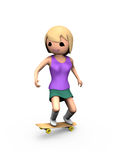 3D Girl Performing Trick on Skateboard. Modern 3D Girl Performing Trick on Wooden Skateboard Royalty Free Stock Photography