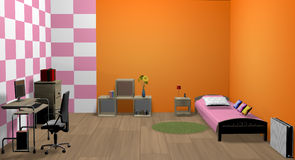 3d girl room. With bed, table, chair and other furniture, the walls are painted in orange, pink and white, the floor is parquet Stock Photo