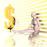 3d girl and us dollar sign Royalty Free Stock Photo