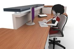 3d girl working at the help desk Royalty Free Stock Photography