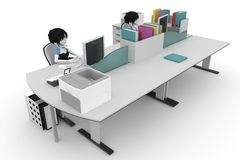 3d girl working at the help desk Stock Images
