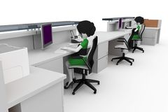 3d girl working at the help desk Royalty Free Stock Photos
