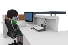 3d girl working at the help desk Royalty Free Stock Photo