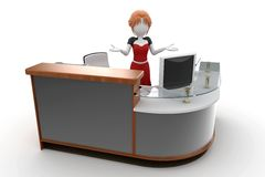 3d girl working at the help desk. Isolated on white Stock Photo