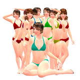3d girls in bikini Royalty Free Stock Photos