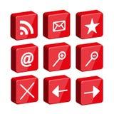 3d glansowanej ikony ustalona sieć Obrazy Royalty Free