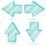 3D glass arrows. Vector set of 3D glass arrows  pointing four directions Stock Image