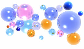 3d glass balls or spheres Stock Photo