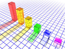 3D glass bar chart Stock Photos