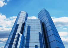 3d glass buildings with the sky and clouds Royalty Free Stock Photo