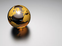 3d glass earth. On reflective white background royalty free illustration