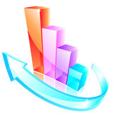 3d glass graph. With arrow Royalty Free Stock Images