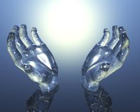 3D Glass Hands Stock Photography