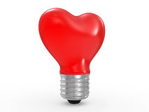 3D glass heart shape lamp bulb Stock Image