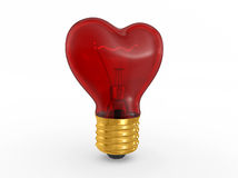 3D glass heart shape lamp bulb Royalty Free Stock Photo