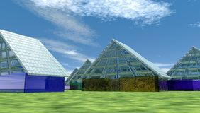 3D glass houses. 3d illustrated houses made of glass Royalty Free Stock Photography