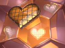 3D glass love heart in mirrors. 3D image of brick glass love heart over reflective mirrors Stock Images
