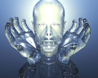 3D glass men head Royalty Free Stock Photography