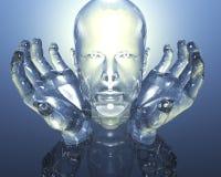3D glass men head vector illustration