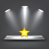 3d Glass Shelf. With lights vector illustration