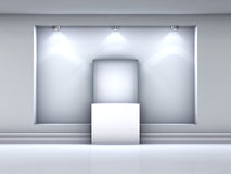 3d glass showcase and niche with spotlights Royalty Free Stock Photos