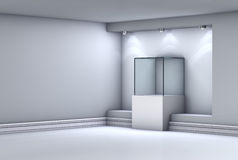 3d glass showcase and niche with spotlights Stock Image