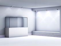 3d glass showcase and niche with spotlights Royalty Free Stock Photo