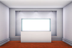 3d glass showcase and niche with spotlights Royalty Free Stock Images