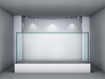 3d glass showcase and niche with spotlights Stock Images