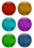 3D glass sphere, button. Illustration - six glass colour button Royalty Free Stock Photo