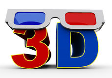 3d glass on word 3d Stock Images