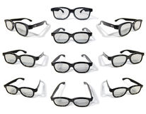 3D Glasses. Multiple isolated images of polarized 3D glasses. 10 different angles to select the image that best suits your application Stock Images