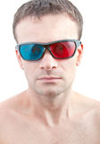 3D glasses. Man in the 3D glasses stock images