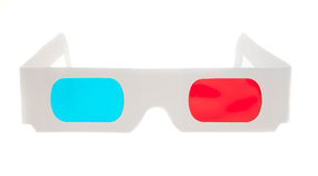 3D Glasses. Paper 3D anaglyph glasses isolated in white background Royalty Free Stock Photography