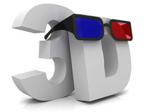 3D and glasses Stock Photos