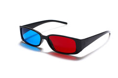 3D glasses. Plastic 3D glasses isolated on white royalty free stock image