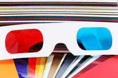 3D glasses. 3d movie glasses,colorful background royalty free stock images