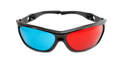 3d glasses. With two-color closeup on white background stock photos