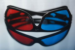 3D glasses. On reflective background stock photo