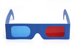 3D glasses. Paper 3D glasses whit  blue and red lenses Royalty Free Stock Photography