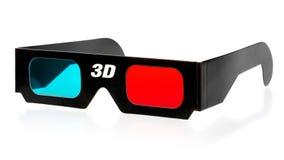 3d Glasses. Black 3d eyeglasses on white background stock photos